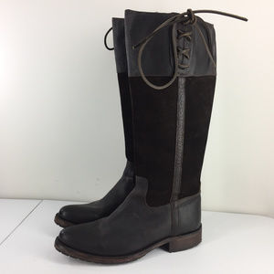 Lucchese 10 B Brown Leather Knee High Riding Boots